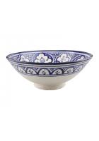 Saladeschaal blauw / wit